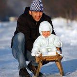 Happy sledding Stock Photos