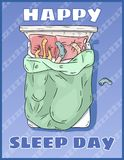 Happy Sleep Day. International holiday postcard. Space for text. Girl sleeping peacefully in her bed vector illustration