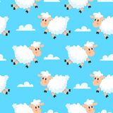 Happy sleeping sheeps fabric background. Dreamy woolly lamb or sheep cartoon seamless illustration royalty free illustration