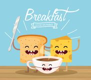 Happy sliced with snife and cheese with cocoa cup. Vector illustration stock illustration
