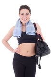 Happy slim woman with sporty bag isolated on white Stock Image