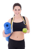 Happy slim woman with yoga mat, measuring tape and apple isolate Stock Images