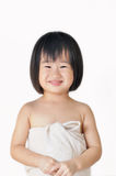 Happy small asian girl child in towel Royalty Free Stock Photos