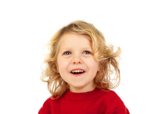 Happy small blond child whith red jersey Stock Image