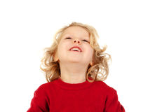 Happy small blond child whith red jersey Royalty Free Stock Photos