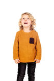 Happy small blond child whith yellow jersey Royalty Free Stock Image