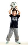 Happy small boy with ball royalty free stock images