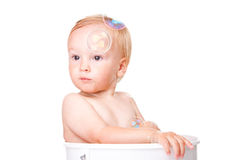 Happy small boy having bath Royalty Free Stock Photography