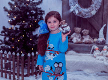 Happy small girl in dress with present have a christmas. Stock Photos