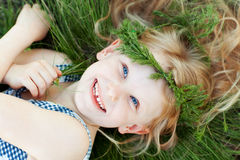 Happy small girl stock photo