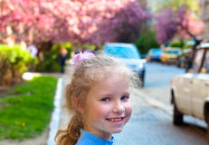 Happy small girl portrait outdoor Stock Photo