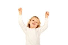 Happy small kid raising his arms Royalty Free Stock Photography