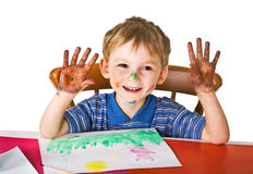 Happy small painter Stock Photography