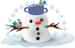 Happy small snowman Royalty Free Stock Image