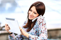 Happy smart businesswoman on the phone Royalty Free Stock Images