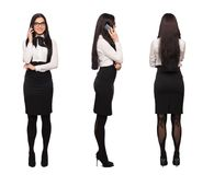 Happy smart caucasian businesswoman in formal wear calling by ph Stock Photography