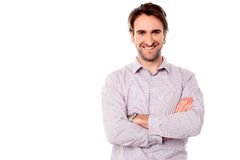 Happy smart guy posing with confidence Royalty Free Stock Photos