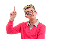 Happy and smart nerd with funny glasses has an idea Stock Photos