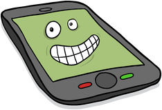 Happy smartphone cartoon character Royalty Free Stock Image
