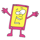Happy Smartphone Cartoon Character. Talking Phone Something tells us , Smiling Royalty Free Stock Photography