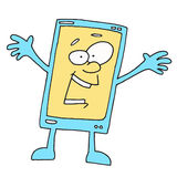 Happy Smartphone Cartoon. Talking Phone Something tells us , Smiling Royalty Free Stock Photos