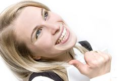 Happy smile. Woman happy smile...business emotion stock images