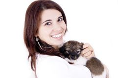 Happy smile. Woman happy smile...with her little dog stock photography