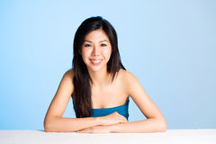 Happy smile of asian young woman. Asian young woman smiling with clean and refreshing face Royalty Free Stock Images