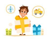 Happy smile boy child kid and big gift box Royalty Free Stock Photo