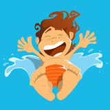 Happy smile boy child kid jump in a water. Royalty Free Stock Photo