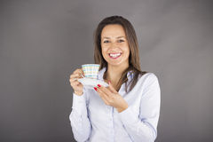Happy smile business woman hold cup of coffee Royalty Free Stock Image