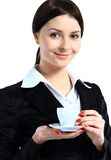 Happy smile business woman hold cup of coffee. Isolated over white background Stock Photography
