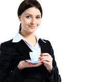 Happy smile business woman hold cup of coffee. Isolated over white background Stock Images