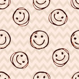 Happy smile chocolate face, seamless patern with. Geometric shapes. Vector illustration Royalty Free Stock Photography