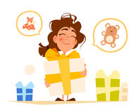 Happy smile cute little girl and big gift box Royalty Free Stock Image