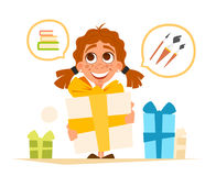 Happy smile cute little girl and big gift box Royalty Free Stock Images