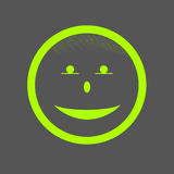 Happy smile face icon illustration green on grey background.  Stock Photos