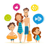 Happy smile healthy family on summer vacation Stock Images