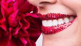 Sensual, happy smile, healthy white teeth, laugh Royalty Free Stock Images