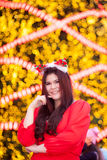 Happy and smile santa woman. Royalty Free Stock Photography