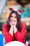 Happy and smile santa woman. Stock Photography