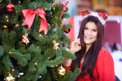 Happy and smile santa woman. Royalty Free Stock Photos