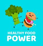 Happy smile strong broccoli kick burger. Hamburger. Vector modern flat style cartoon character illustration icon design.Card, sticker,poster,t-shirt. Healthy Royalty Free Stock Images