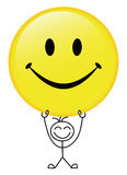 Happy Smile. Vector illustration of happy boy holding up the smile face Stock Photo