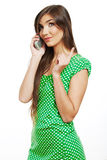 Happy smile woman mobile phone talking Royalty Free Stock Image