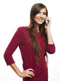 Happy smile woman mobile phone talking Stock Photography