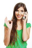 Happy smile woman mobile phone talking Royalty Free Stock Images