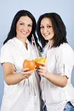 Happy smile women with fresh  citrus fruits Stock Photo