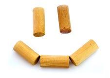 Happy smile. Happy wooden smile isolated on white background Royalty Free Stock Photo