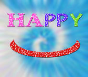 Happy. Smile written in a colorful way with a smile Stock Photography